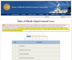 Rhode Island Statutes with disclaimer