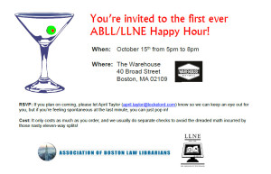 Flyer for joint LLNA ABLL Happy Hour